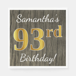 Faux Wood, Faux Gold 93rd Birthday + Custom Name Paper Napkins