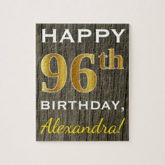 Faux Wood, Faux Gold 96th Birthday + Custom Name Jigsaw Puzzle