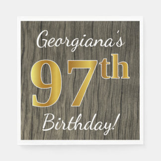 Faux Wood, Faux Gold 97th Birthday + Custom Name Disposable Serviettes