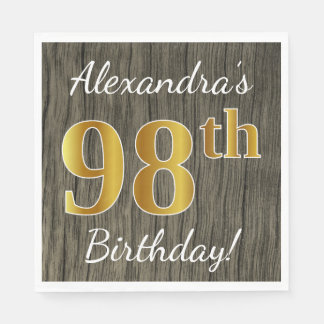 Faux Wood, Faux Gold 98th Birthday + Custom Name Disposable Napkin