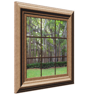 Faux Wood Framed Window View of Trees Canvas Art Gallery Wrapped Canvas