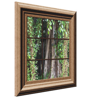 Faux Wood Framed Window View of Trees Canvas Art Stretched Canvas Prints