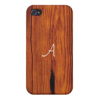 faux Wood Grain Monogram iPhone 4/4S Case