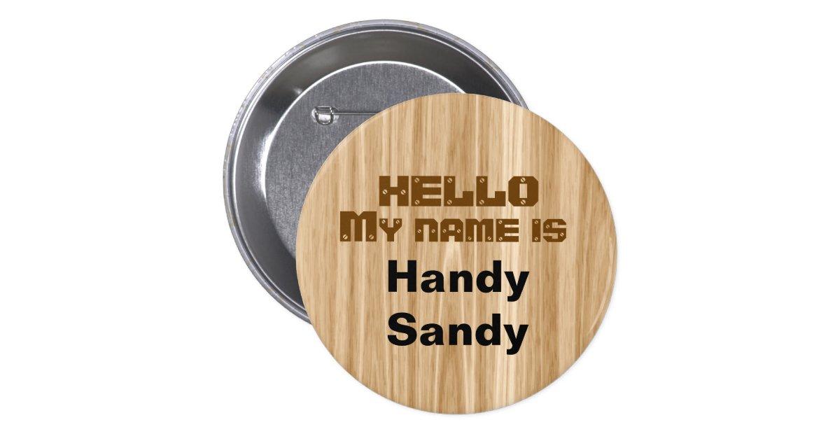 Faux Wood Grain Nametag Personalised Pin Template | Zazzle