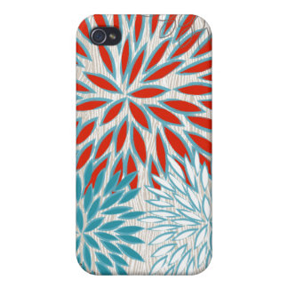 Faux Wood Grain Red and Teal Floral iPhone Case iPhone 4 Cases