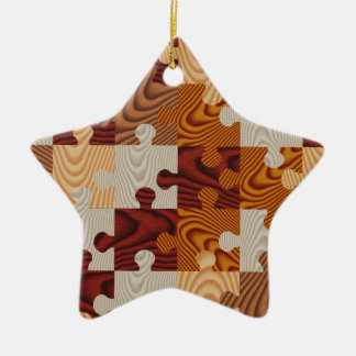 Faux wood jigsaw puzzle christmas ornament
