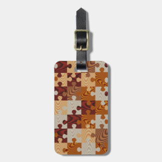 Faux wood jigsaw puzzle luggage tag