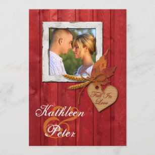 FAUX Wood, Leaves, Heart, Wheat PHOTO Wedding Invitation