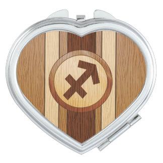 Faux Wood Sagittarius Symbol Mirror For Makeup