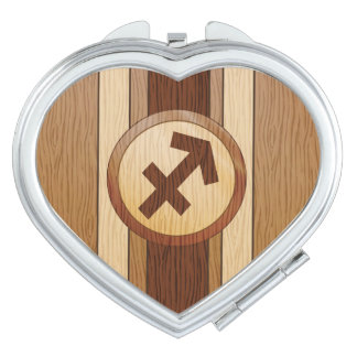 Faux Wood Sagittarius Symbol Travel Mirrors