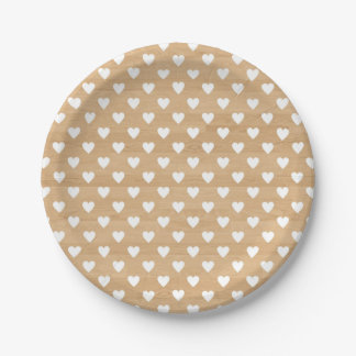 Faux Wood | White Hearts Pattern Paper Plate