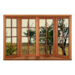 Faux Wooden Bay Window Illusion - Golden Grass Poster