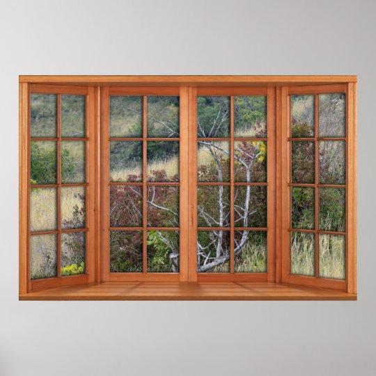 Faux Wooden Bay Window Illusion - Grassy Landscape