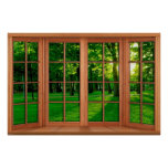 Faux Wooden Bay Window Illusion - Green Park Poster