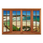 Faux Wooden Bow Window Illusion - Caribbean Poster