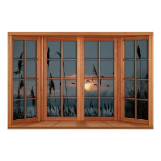 Faux Wooden Bow Window Illusion - Flock of Birds Poster