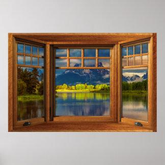 Faux Wooden Bow Window Illusion - Mountain Scene Poster
