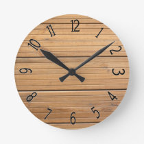 Faux Wooden Fancy Panelling Round Clock