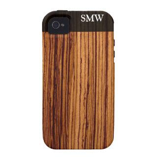 Faux Zebra Wood Grain Custom Personalized Case-Mate iPhone 4 Case