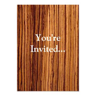 Faux Zebrawood Woodgrain Executive 13 Cm X 18 Cm Invitation Card
