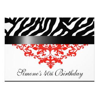 Favoloso Zebra Damask 40th Birthday Party Personalized Invitation