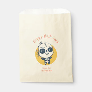 Favor bag for Halloween with skeleton