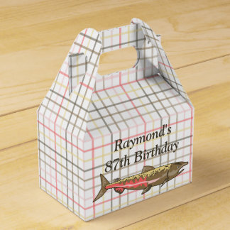 Favor/Gift Box - Chinook Salmon on Plaid Wedding Favour Box