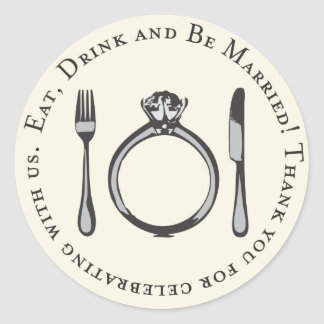 Favor Sticker Eat Drink and Be Married