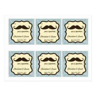 Favor Tags I Mustache You a Question fun blue Postcard