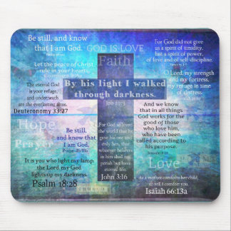 Favorite Bible Verses with Christian Cross Mouse Mat