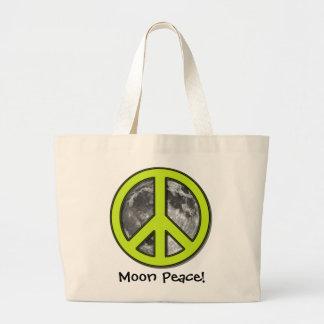 favorite Green Moon Peace Sign Tote Bag