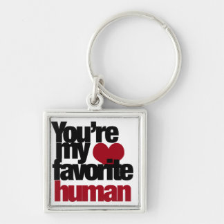 Favorite Human Love Silver-Colored Square Key Ring