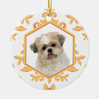 Favorite Pets Gilded Damask Dog / Cat Photo Round Ceramic Decoration