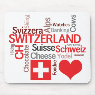 Favorite Swiss Things - I Love Switzerland Mouse Mat
