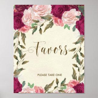 Favors sign wedding bridal shower floral