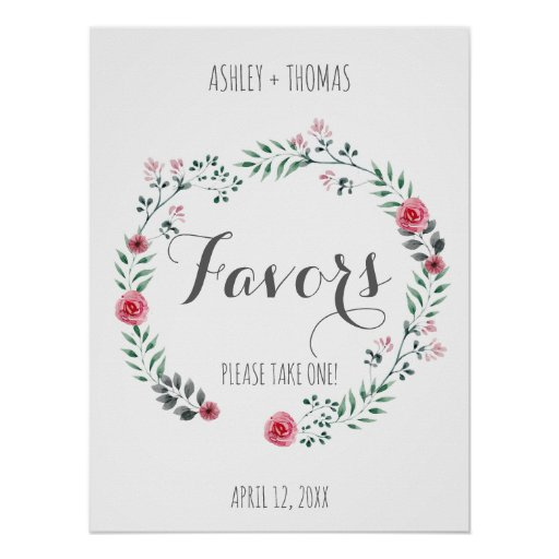FAVORS Wedding floral calligraphy sign