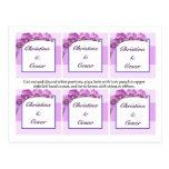 Favour Tags Purple Orchids on Stem