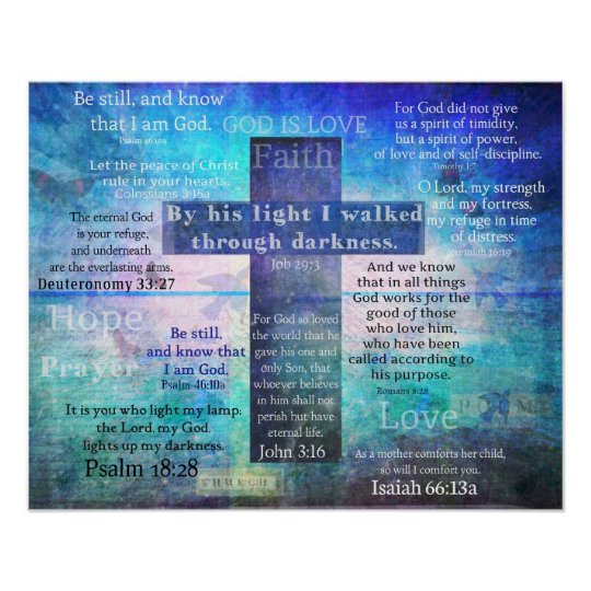 Favourite Bible Verses with Christian Cross Poster