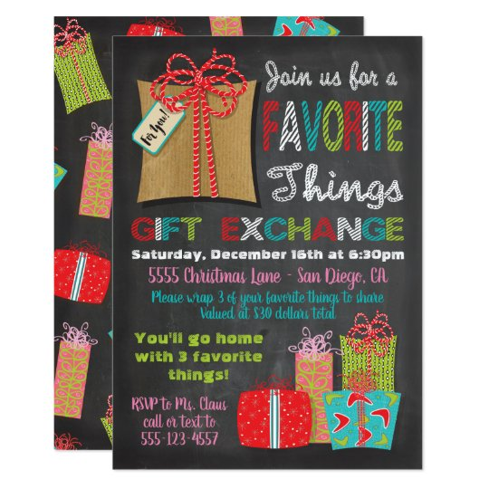 Favourite things Christmas Gift Exchange Card