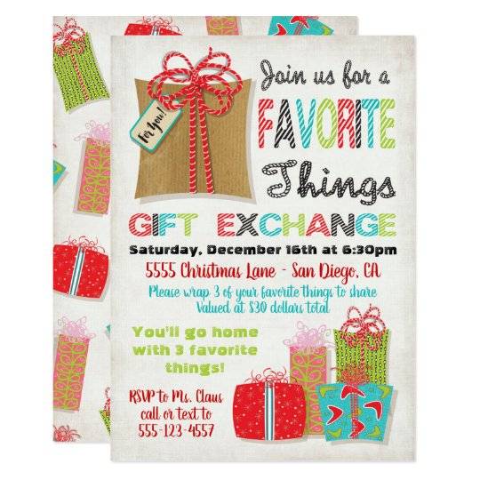 Christmas Gift Exchange.Favourite Things Christmas Gift Exchange Invitation
