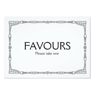 """Favours"" Art Deco Style Wedding Sign 13 Cm X 18 Cm Invitation Card"
