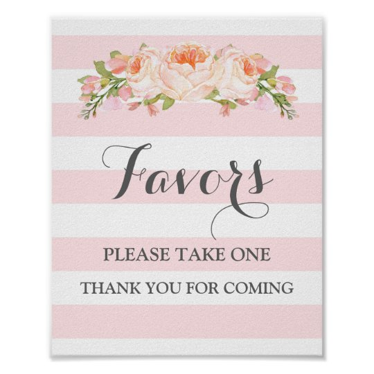 Favours Baby Shower Sign Pink Flowers Stripes