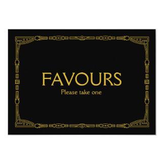 """Favours"" Gold Art Deco Style Wedding Sign 13 Cm X 18 Cm Invitation Card"