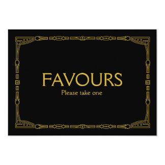 """""""Favours"""" Gold Art Deco Style Wedding Sign Card"""