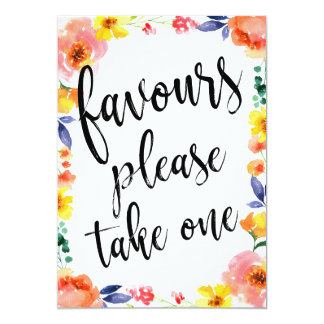 Favours Please Take One Affordable Floral Sign Card