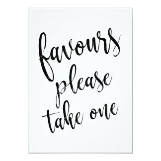 Favours Please Take One Affordable Sign Card