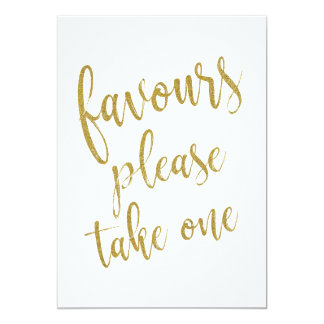 Favours Please Take One Gold Affordable Sign Card