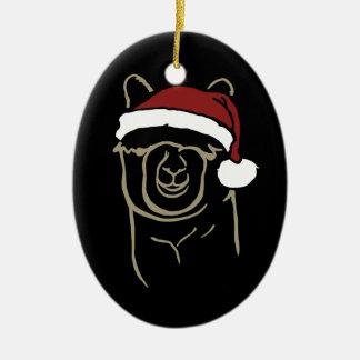 Fawn Alpaca with Santa Hat Christmas Ornament