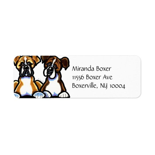 Fawn and Brindle Boxer Simple Return Address Label