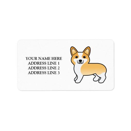 Fawn And White Welsh Corgi Pembroke Dog & Text Address Label